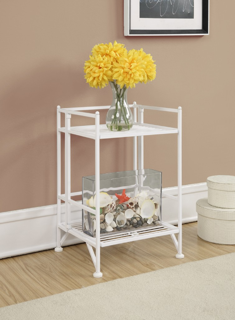 2 Tier Folding Metal Shelf in White Finish - Convenience Concepts 8020W