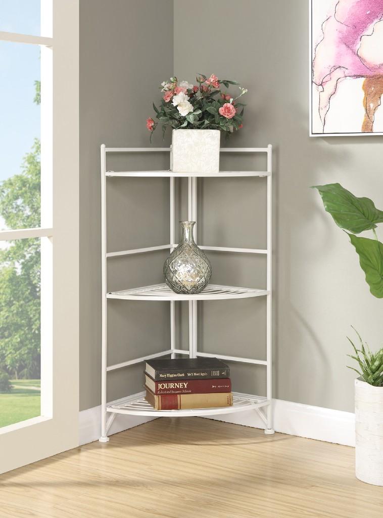 3 Tier Corner Folding Metal Corner Shelf in White Finish - Convenience Concepts 8022W