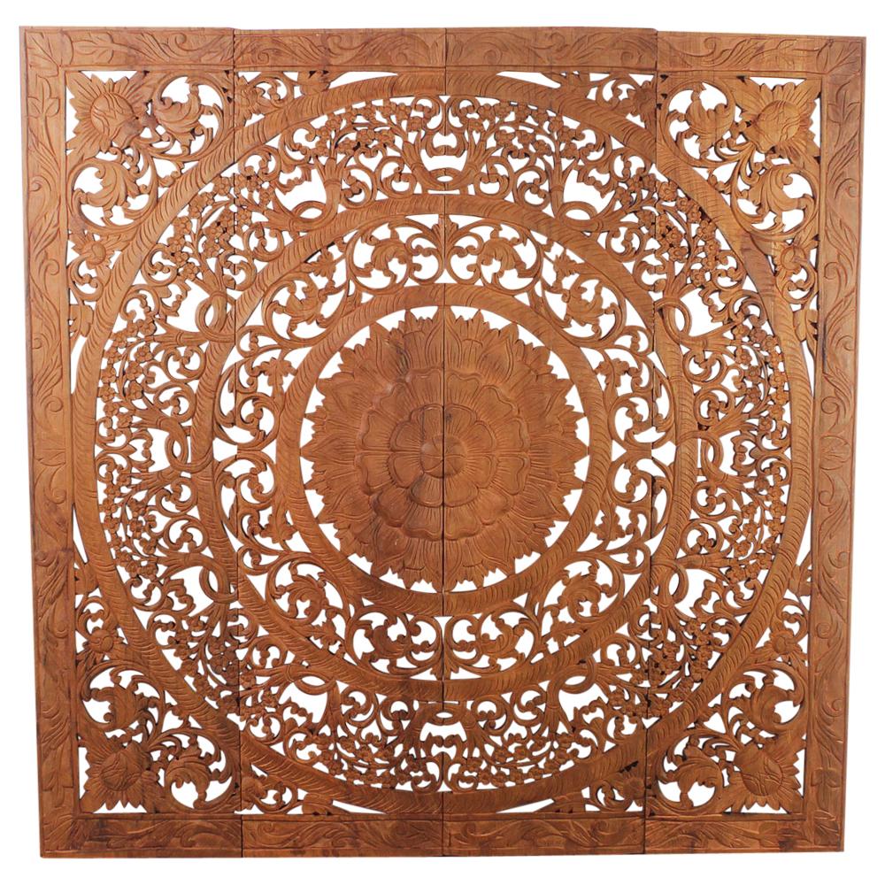 Teak Lotus Panel 48 x 48 inches H-3D - Strata Furniture LP4848-3D-BRSNW