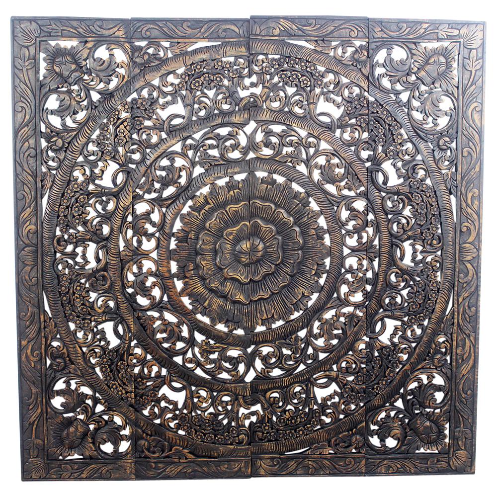 Teak Lotus Panel 48 x 48 inches H-3D - Strata Furniture LP4848-3D-BSNW