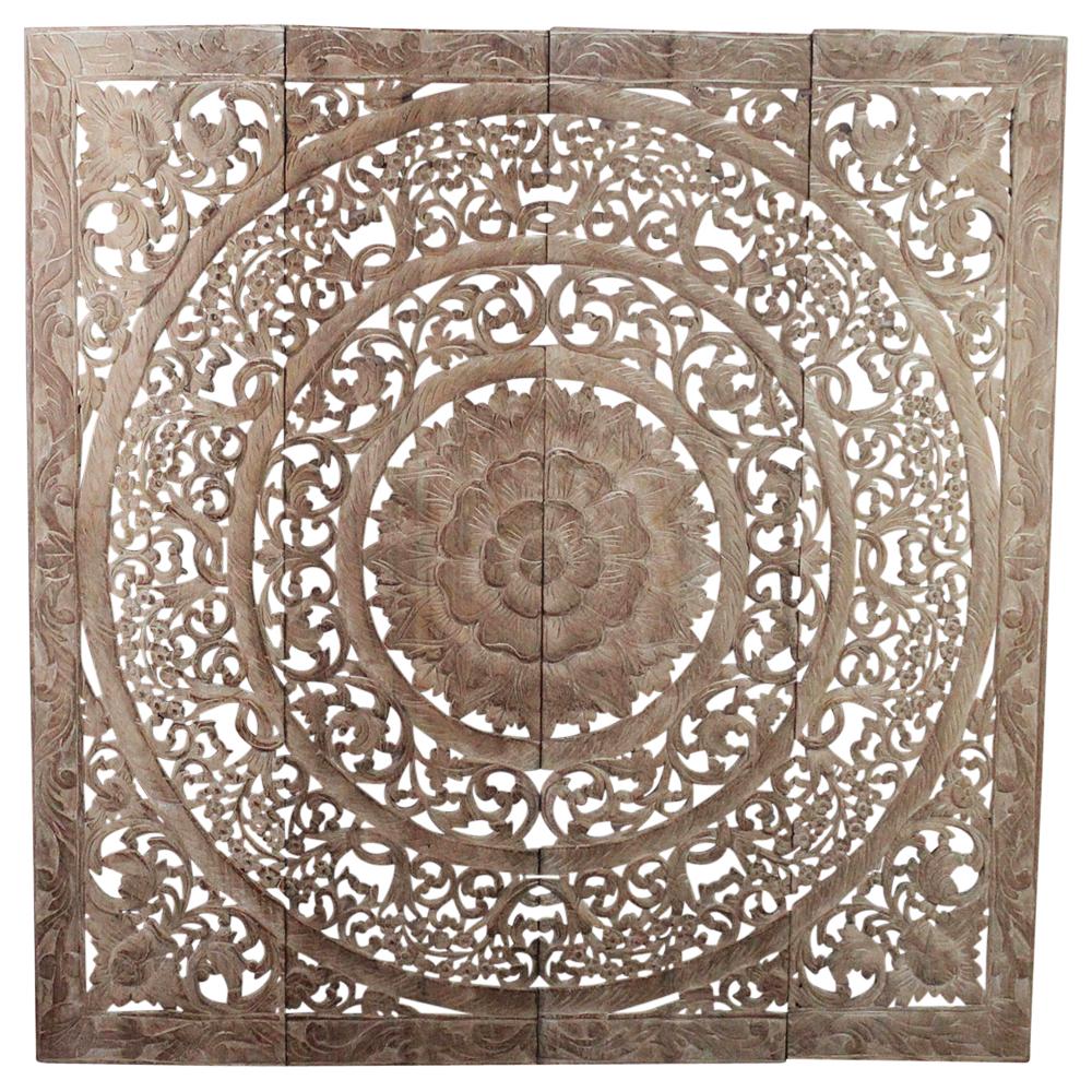 Teak Lotus Panel 48 x 48 inches H-3D - Strata Furniture LP4848-3D-SWNW