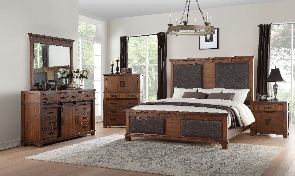 Acme Vibia Queen Bed Brown Fabric Cherry Oak