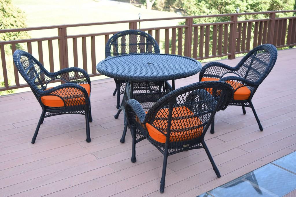 Jeco Black Wicker Dining Set Orange Cushions