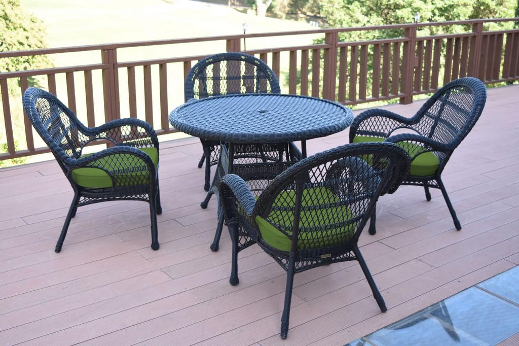 Jeco Black Wicker Dining Set Hunter Green Cushions