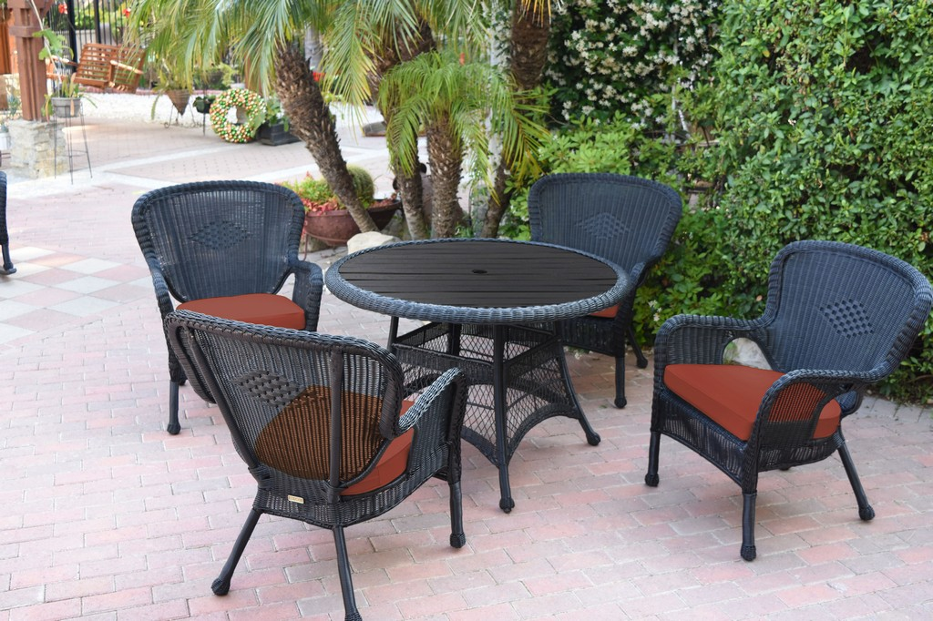 Jeco Black Wicker Dining Set Faux Wood Top Brick Red Cushion