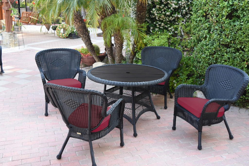 Jeco Black Wicker Dining Set Faux Wood Top Red Cushion Rd