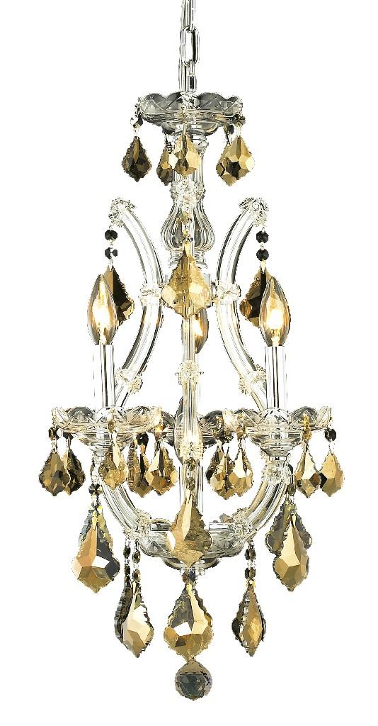 Elegant Lighting Light Chrome Pendant Golden Teak Smoky Elements Crystal