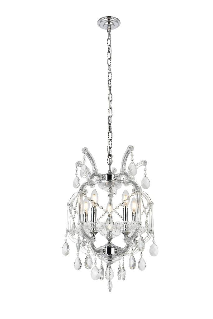 Elegant Lighting Light Chrome Pendant Clear Royal Cut Crystal