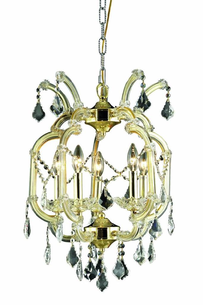 Elegant Lighting Light Gold Pendant Clear Royal Cut Crystal