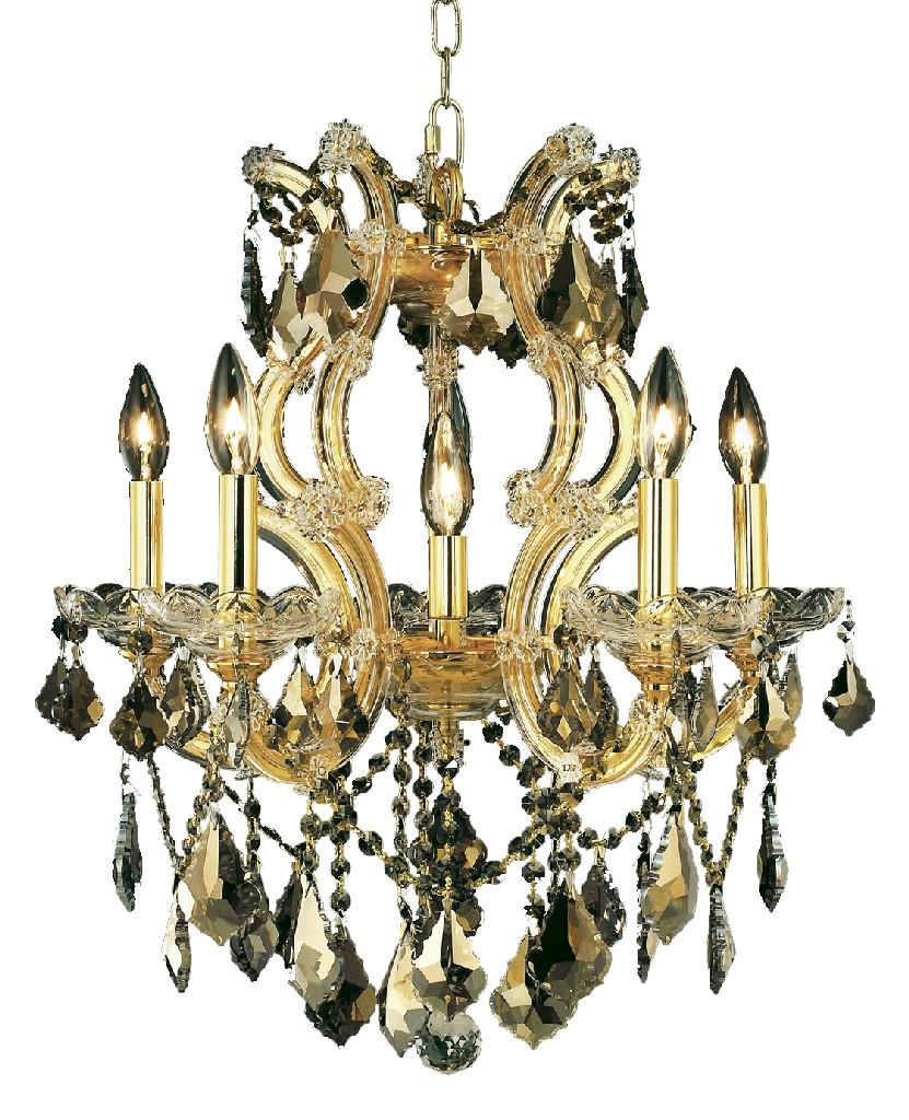 Elegant Lighting Light Gold Pendant Golden Teak Smoky Royal Cut Crystal