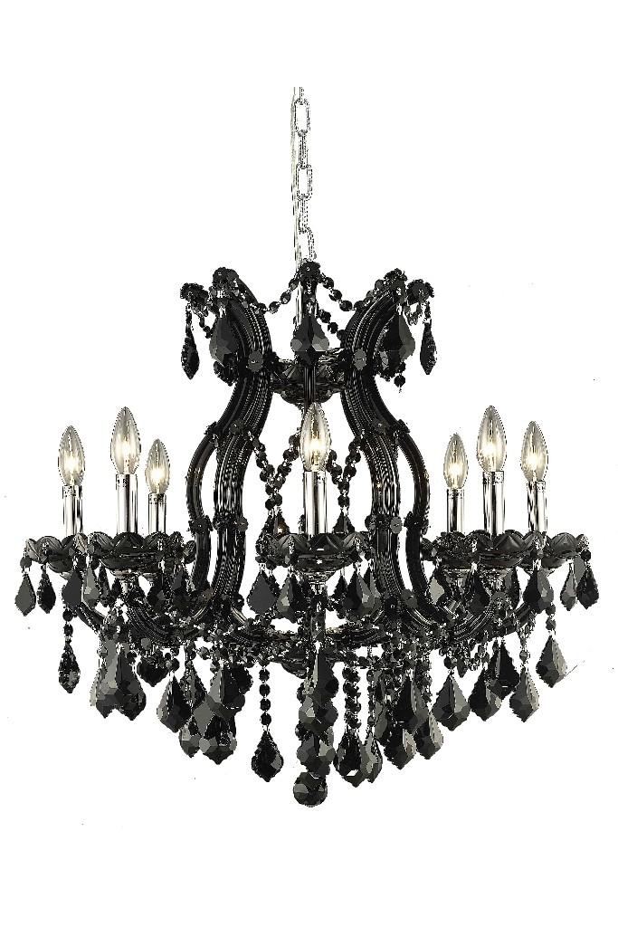 Elegant Lighting Light Black Chandelier Jet Black Royal Cut Crystal