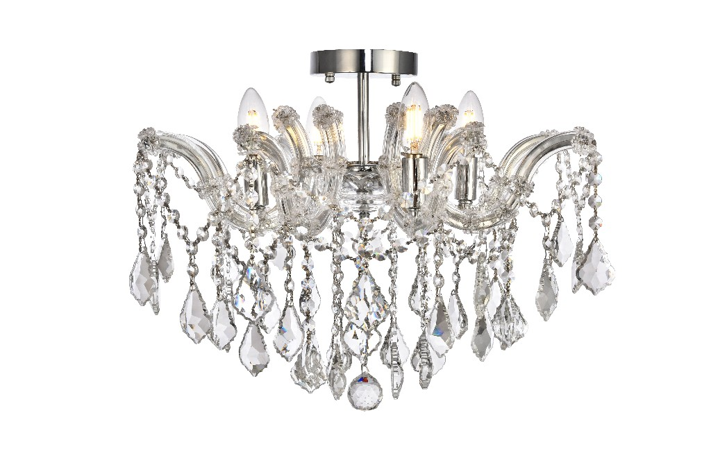 Elegant Lighting Light Chrome Flush Mount Clear Royal Cut Crystal
