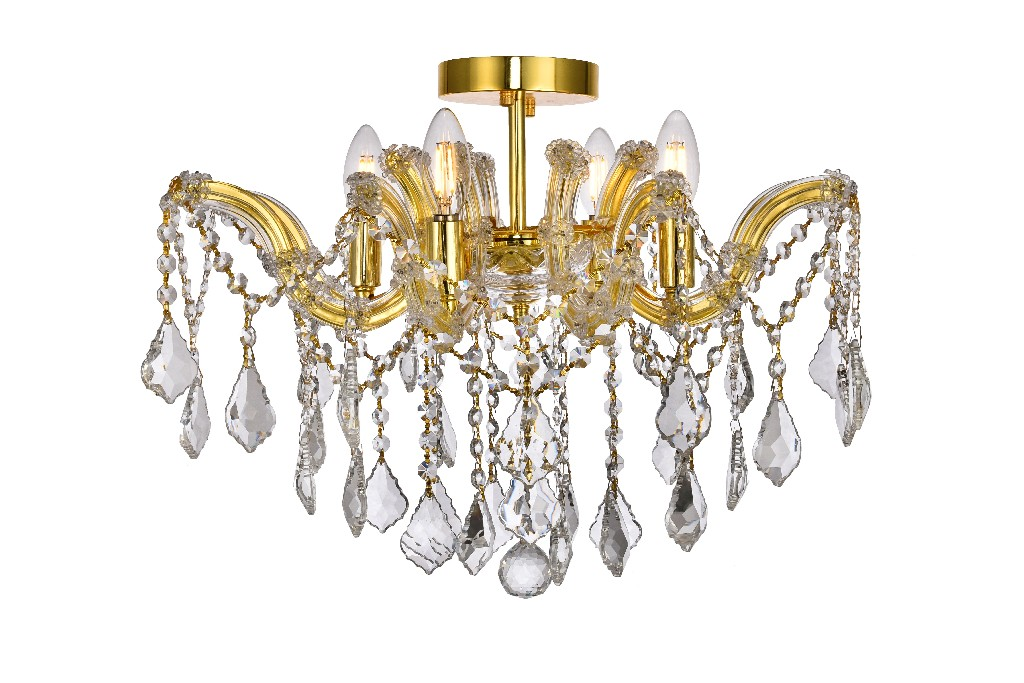 Elegant Lighting Light Gold Flush Mount Clear Royal Cut Crystal
