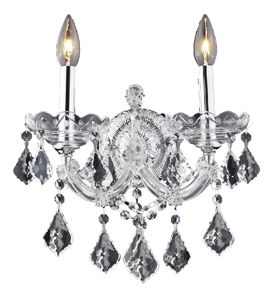 Elegant Lighting Light Chrome Wall Sconce Clear Elements Crystal