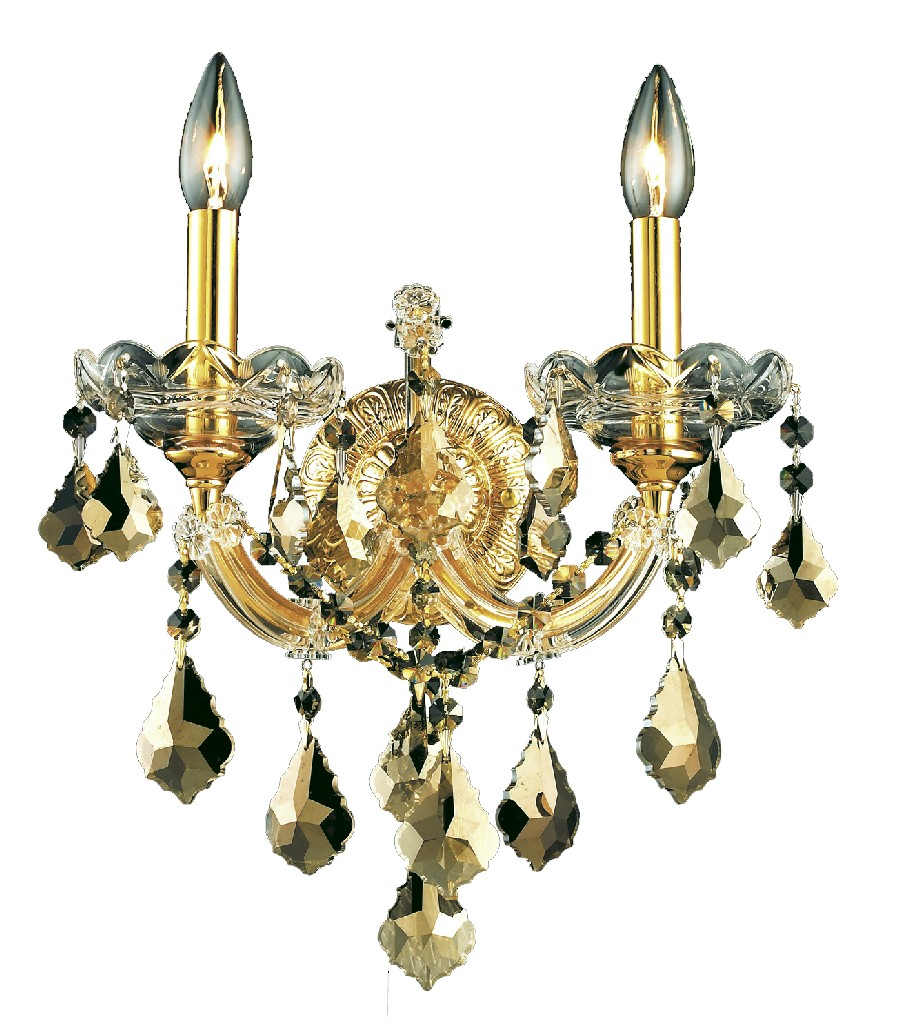 Elegant Lighting Light Golden Teak Wall Sconce Golden Teak Smoky Elements Crystal