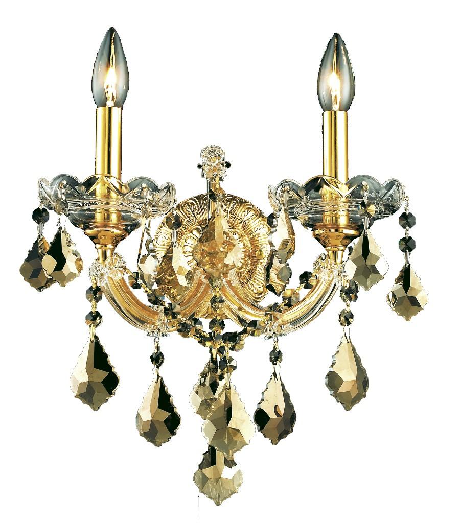 Elegant Lighting Light Gold Wall Sconce Golden Teak Smoky Elements Crystal