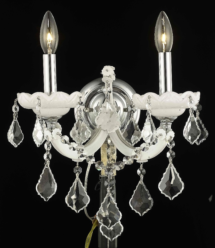 Elegant Lighting Light White Wall Sconce Clear Elements Crystal