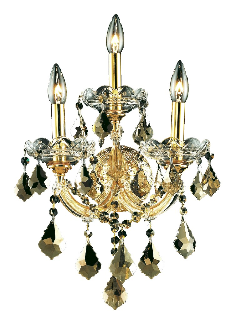 Elegant Lighting Light Gold Wall Sconce Golden Teak Smoky Elements Crystal