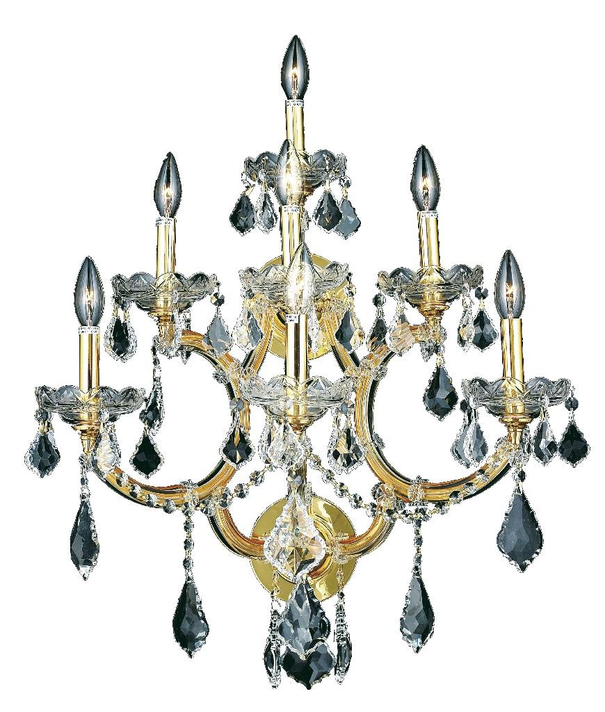 Elegant Lighting Light Gold Wall Sconce Clear Elegant Cut Crystal