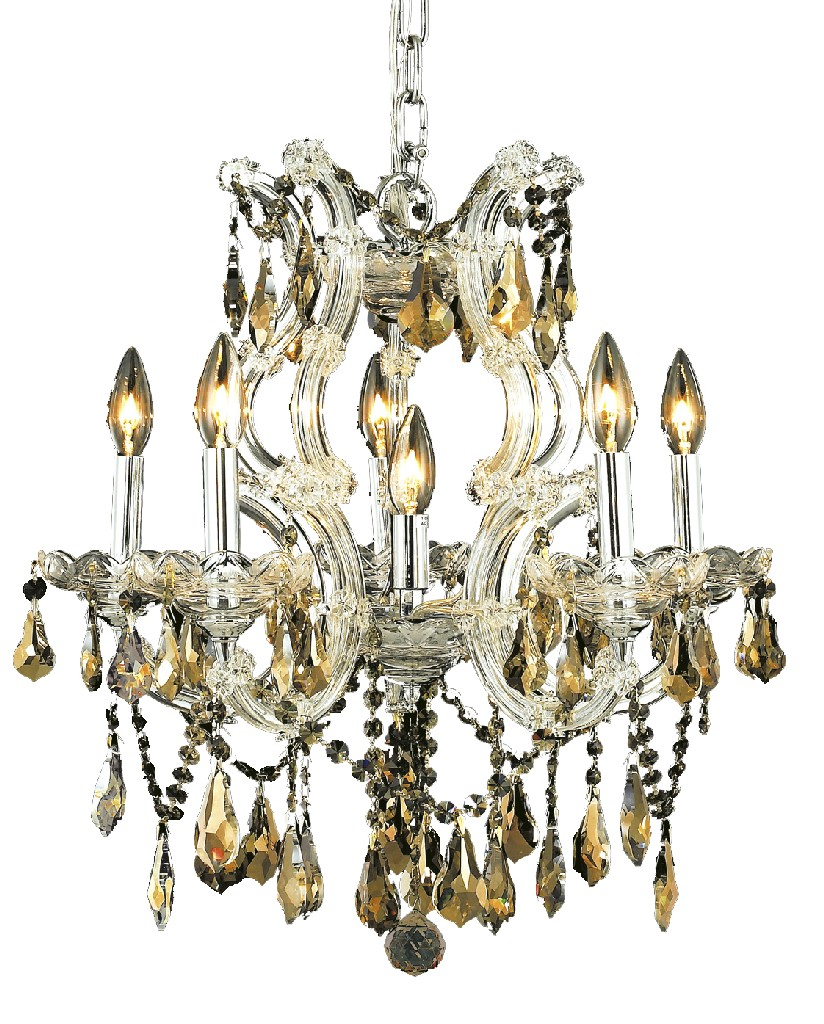 Elegant Lighting Light Chrome Chandelier Golden Teak Smoky Royal Cut Crystal