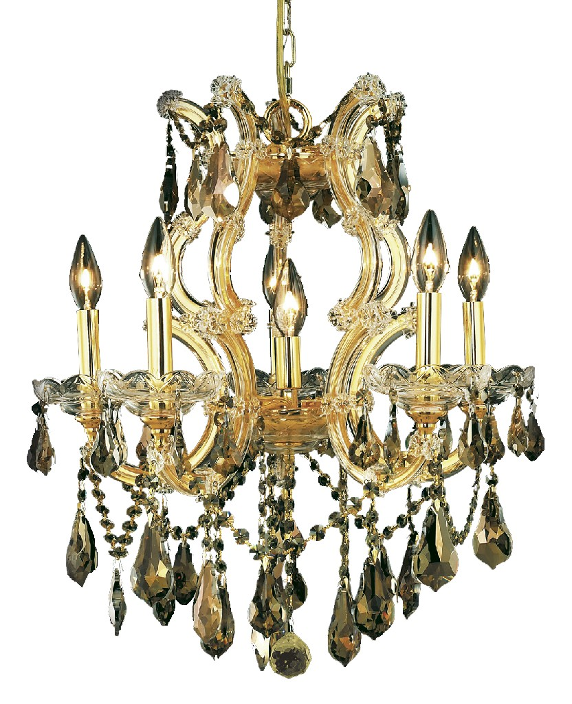 Elegant Lighting Light Gold Chandelier Golden Teak Smoky Royal Cut Crystal