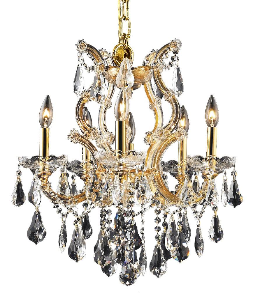 Elegant Lighting Light Gold Chandelier Clear Royal Cut Crystal