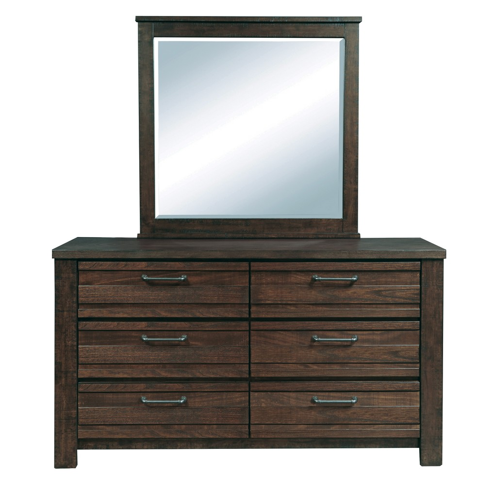 Templeton Square 6 Drawer Dresser and Mirror - Home Meridian 210-S076-BR-K6 Image