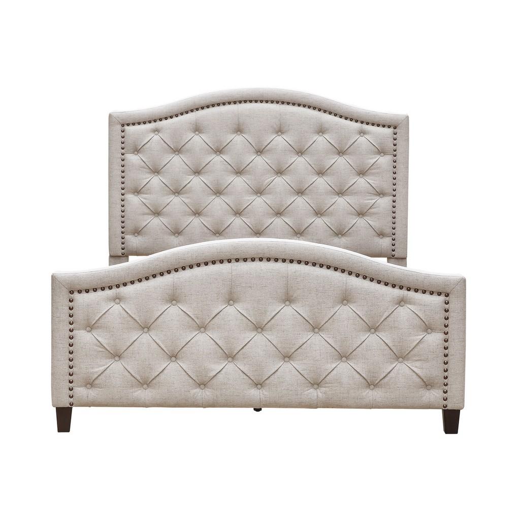 Button Tufted Upholstered King Platform Bed