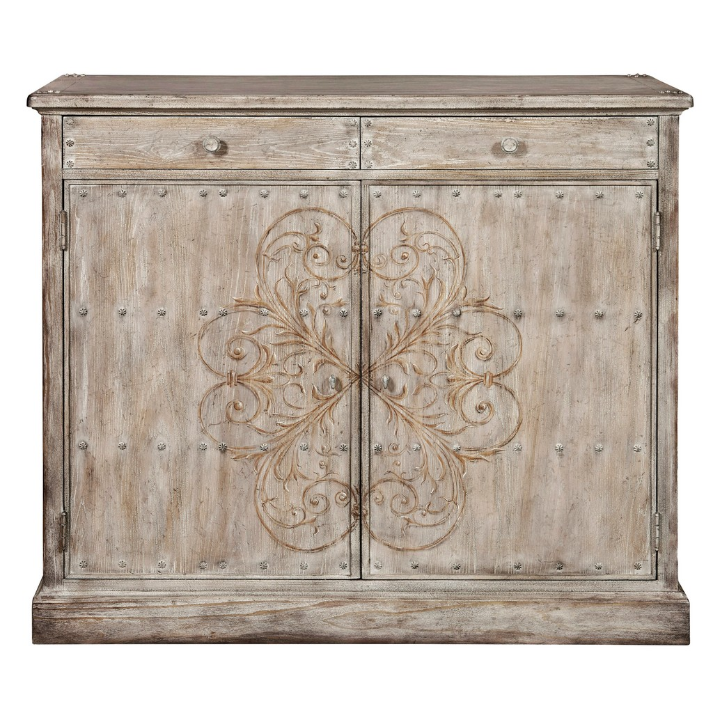 Rivet Painted One Drawer Accent Door Chest Weathered Brown Meridian