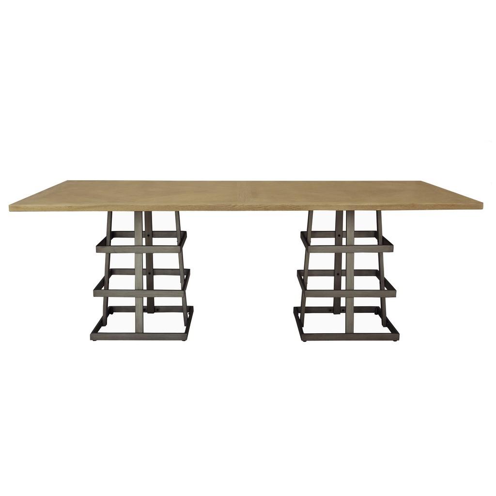 Accentrics Furniture Rectangular Dual Pedestal Wood Metal Dining Table Meridian