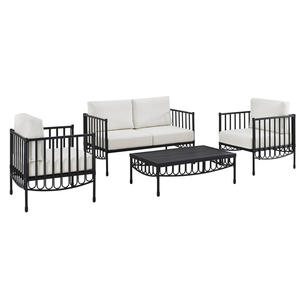 Metal Loveseat Chair Table Outdoor Set Black Cushions