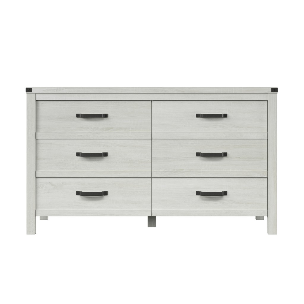 HMidea Modern Farmhouse 6 Drawer Dresser - White Weathered Oak - Home Meridian J006-010A-006 Image