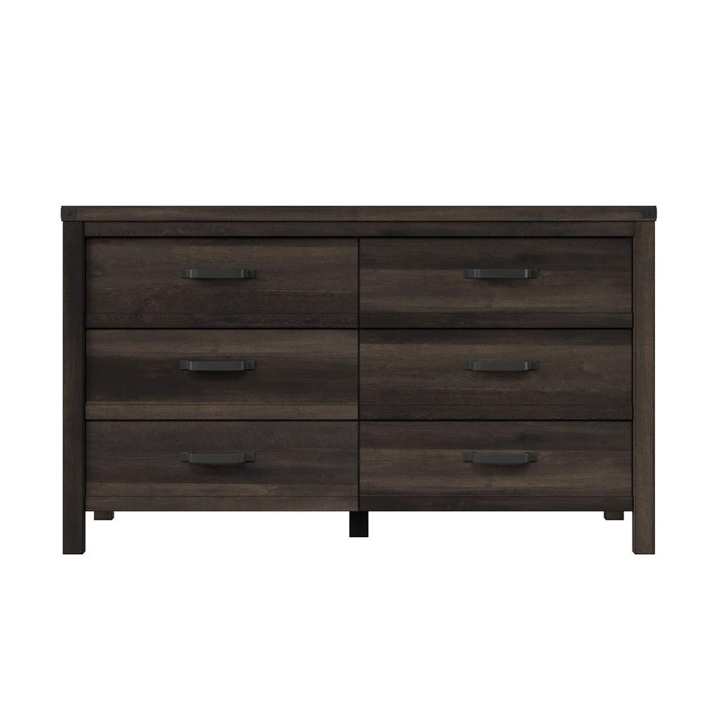 HMidea Modern Farmhouse 6 Drawer Dresser - Brown Weathered Oak - Home Meridian J006-010B-005 Image