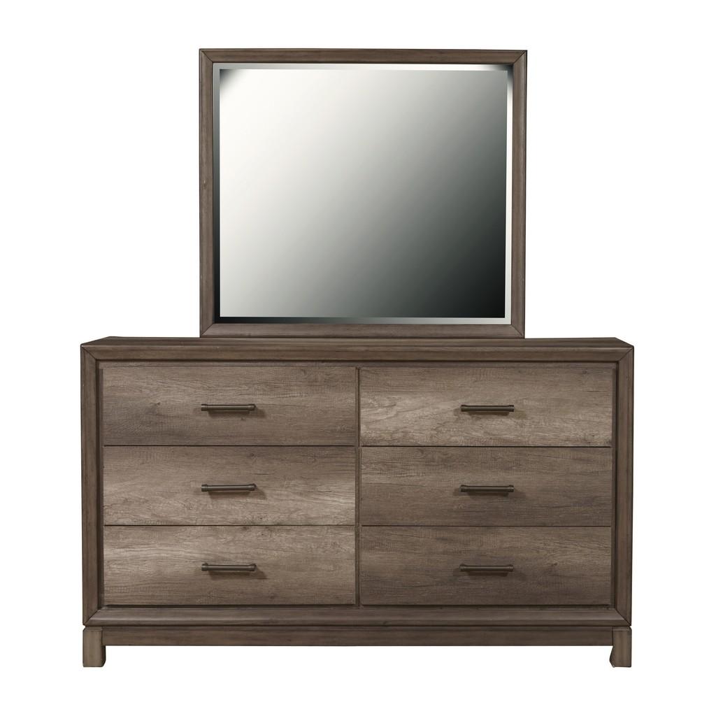 Samuel Lawrence Furniture 6 Drawer Dresser in Elm Brown - Home Meridian S468-010 Image
