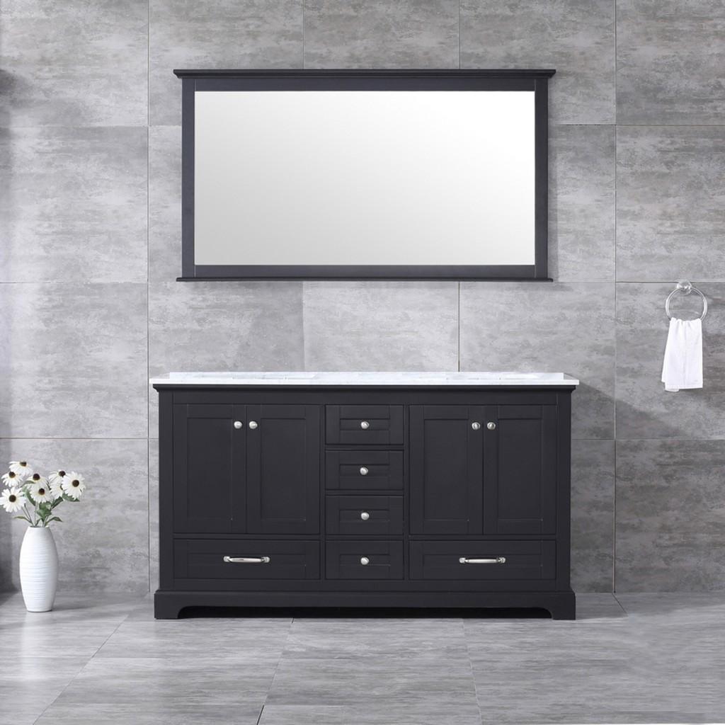 Double Vanity Set White Marble Top White Ceramic Square Undermount Sinks Mirror