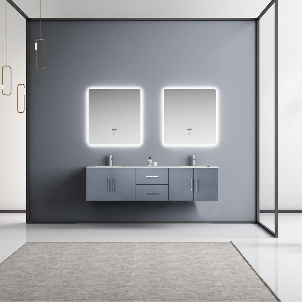 Grey Double Vanity Ensemble White Marble Top White Ceramic Square Undermount Sinks Led Mirrors Faucets