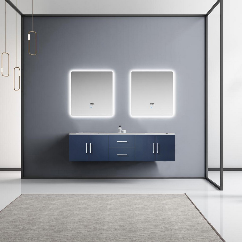 Blue Double Vanity Set White Marble Top White Ceramic Square Undermount Sinks Led Mirrors