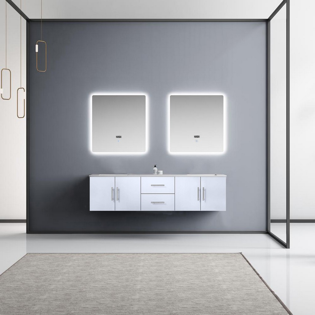 Glossy White Double Vanity Set White Marble Top White Ceramic Square Undermount Sinks Led Mirrors