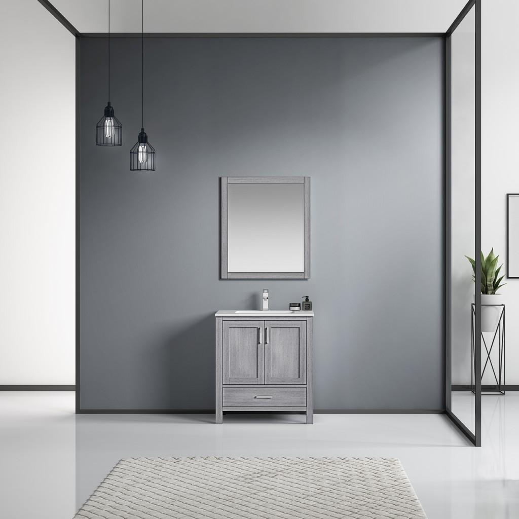 Grey Single Vanity Ensemble White Marble Top White Ceramic Square Undermount Sink Mirror Faucet