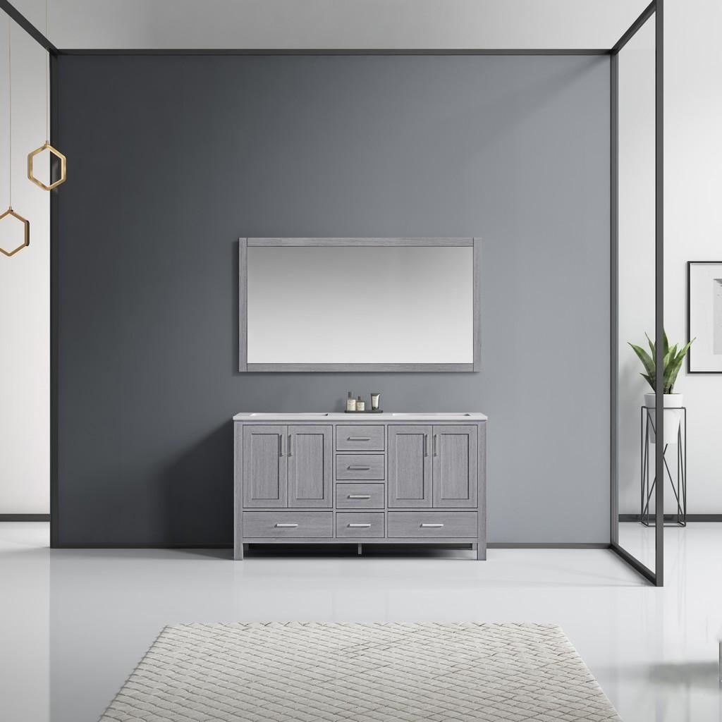 Grey Double Vanity Set White Marble Top White Ceramic Square Undermount Sinks Mirror