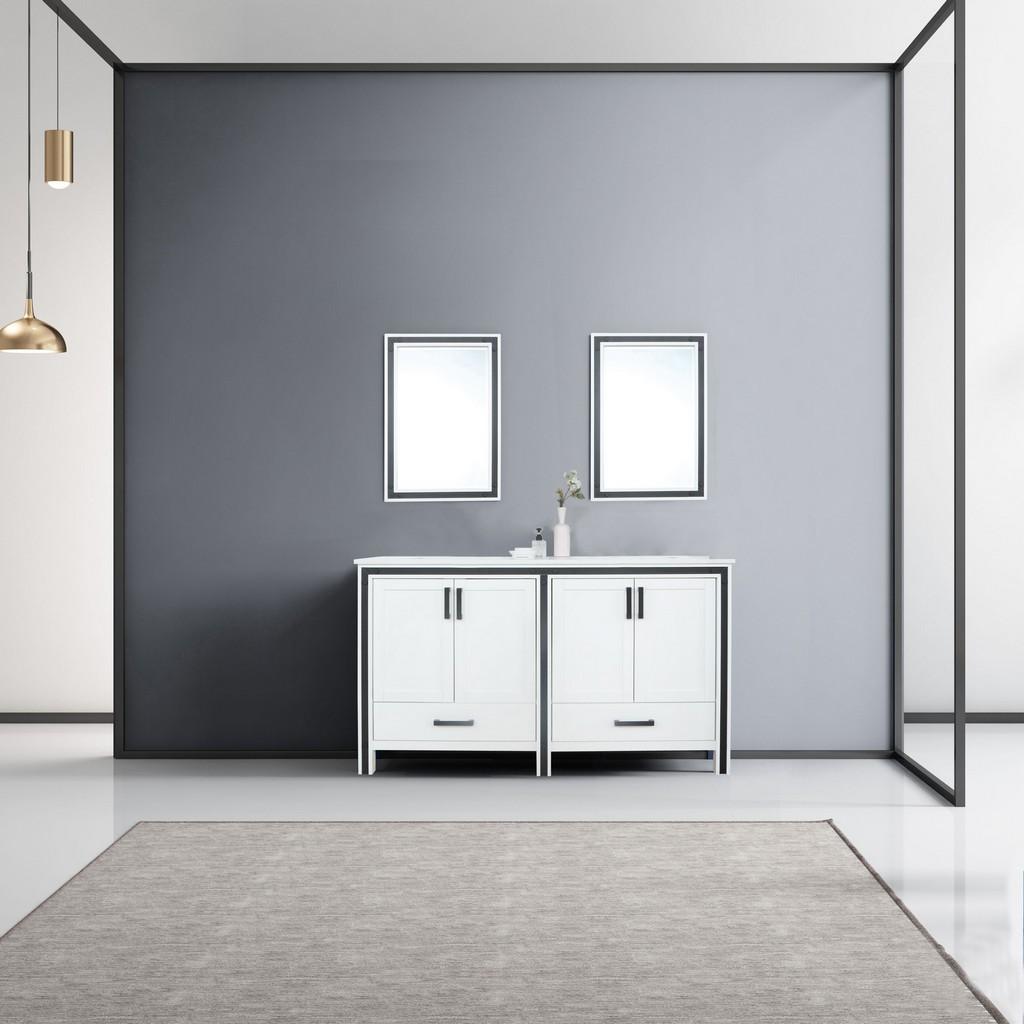 White Double Vanity Set Marble Top White Ceramic Square Undermount Sink Mirrors