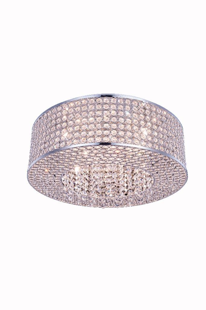 Elegant Lighting Light Chrome Flush Mount Clear Royal Cut Crystal