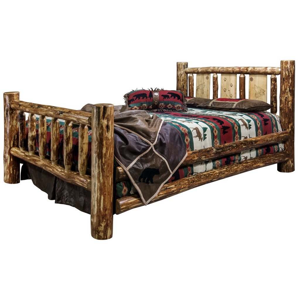Montana Country Full Bed Engraved Wolf Design