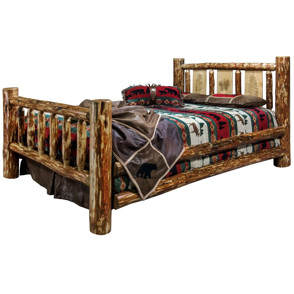 Montana Furniture Country King Bed Engraved Pine Tree Design