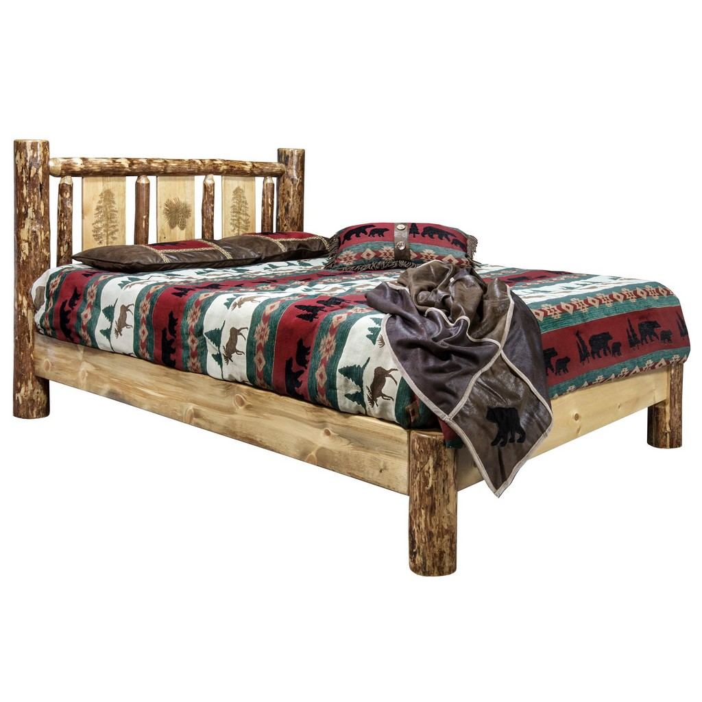 Country Queen Platform Bed Engraved Pine Tree Design