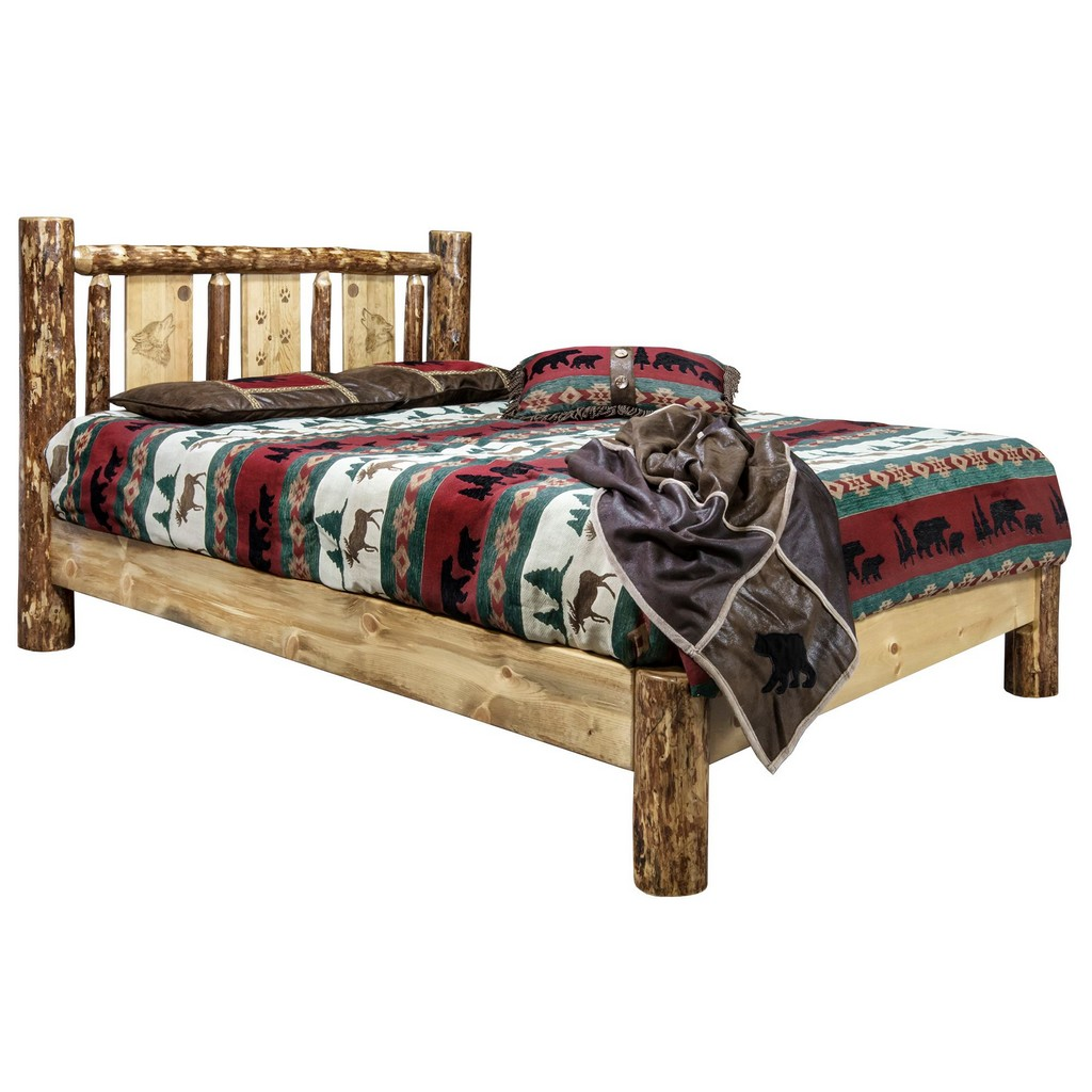 Country Twin Platform Bed Engraved Wolf Design