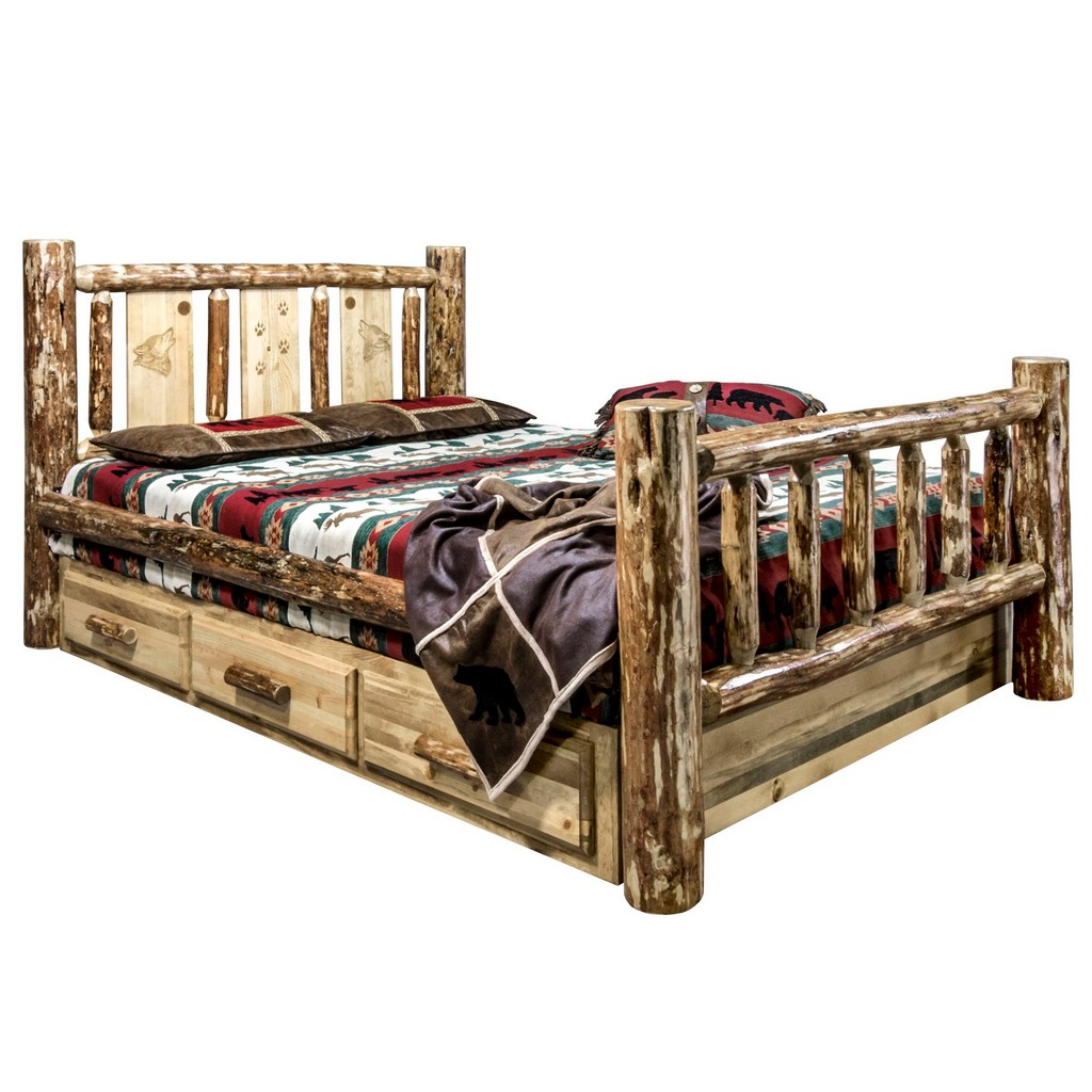 Country California King Storage Bed Engraved Wolf Design