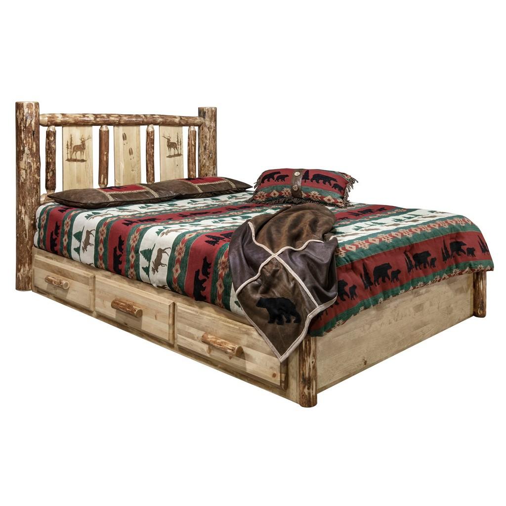 Country Platform Bed Storage Twin Engraved Elk Design