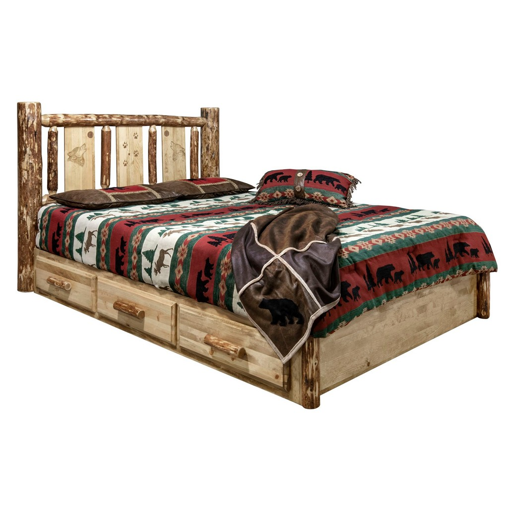 Country Platform Bed Storage Twin Engraved Wolf Design