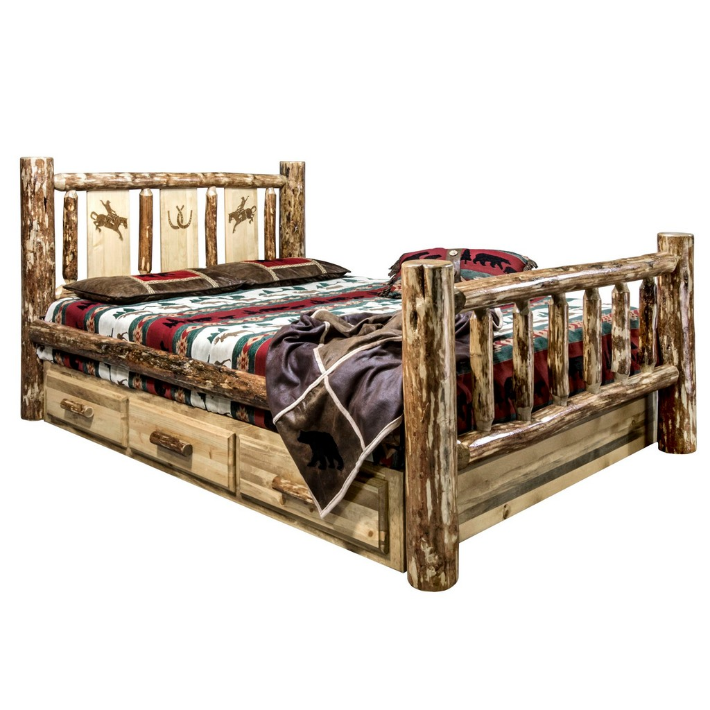 Country Twin Storage Bed Engraved Bronc Design
